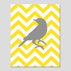 Chevron Bird  11x14 Print  Choose Your Colors by Tessyla on Etsy, $25.00