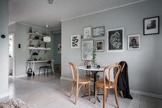Scandinavian living room with workspace