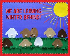 Fun bunny themed bulletin board decoration for spring! http://www.mpmschoolsupplies.com/ideas/4559/we-are-leaving-winter-behind-spring-bunny-themed-bulletin-board/