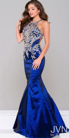 Beaded Taffeta Mermaid Evening Dress from JVN by Jovani #edressme