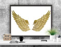 Angels Wings Printable Art Gold Print Home Decor by ATArtDigital Quote Prints, Wall Art Prints, Printable Art, Printables, Gold Decorations, Gold Print, Frame It, Nursery Art, Gold Glitter