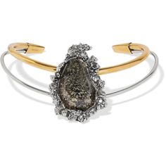 Alexander McQueen Gold and silver-tone stone choker (€700) ❤ liked on Polyvore featuring jewelry, necklaces, gold and silver jewelry, button necklace, imitation jewelry, choker necklace and alexander mcqueen