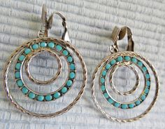 Vintage Clip On Dangle Earrings Turquoise by KKCollectibleCollage, $5.00 https://www.etsy.com/listing/165633804/vintage-clip-on-dangle-earrings