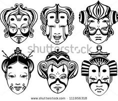 Illustration of Japanese Tsure Noh Theatrical Masks. Set of black and white vector illustrations. vector art, clipart and stock vectors. Japanese Mask Tattoo, Japanese Tattoo Designs, Japanese Design, Japan Tattoo, Tattoo Mascara, Chinese Mask, Japan Kawaii, Hannya Tattoo, Japanese Face