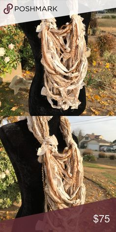 Handmade rag knotted infinity scarf Opera length Multi textured handmade infinity scarf Second Nature Designs by cc Accessories Scarves & Wraps