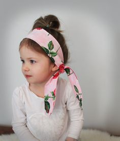 Sweetheart rose tie up headband wrap . pink and red bow headband . little girl hair accessories . pretty  headband . floral . garden .. $12.00, via Etsy.