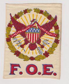 "F O E Fraternity Order of Eagles 5 1 2"" Large Silk Flag   eBay"