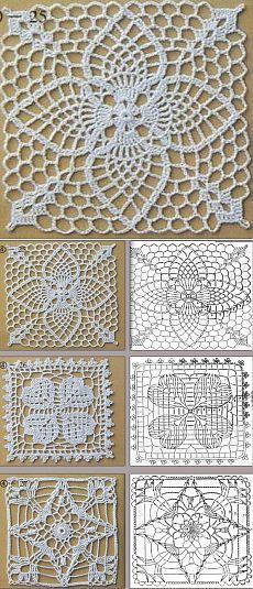 Квадратные мотивы крючком Crochet Headband Free, Crochet Cowl Free Pattern, Crochet Motif Patterns, Granny Square Crochet Pattern, Crochet Squares, Crochet Chart, Thread Crochet, Crochet Granny, Crochet Table Runner Pattern