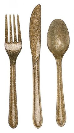 Glitz Gold Collection Glitter Plastic Cutlery - Assorted - Party Supplies - Christmas
