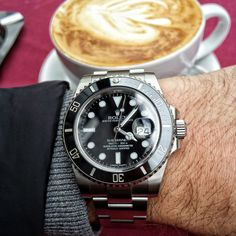 An early morning pick me up courtesy of Cigar Smoking Model... much needed #coffee and a #Rolex #Submariner
