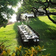 Wooden Wedding table on the lawn of Kukahiko Estate with chandeliers hanging from the trees for lighting - Bliss Wedding Design