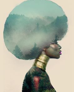 #ARTweLIKE Follow Pierre Jean-Louis on Instagram @pierre_artista paintings digital photomontage african-american natural hair afrofuturism afropunk