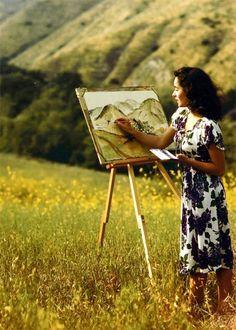 Elizabeth Taylor painting in June, 1947