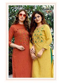 Plain Kurti Designs, Kurta Designs Women, Salwar Designs, Hand Embroidery Dress, Kurti Embroidery Design, Crewel Embroidery, Embroidery Patterns, Sleeves Designs For Dresses, Dress Neck Designs