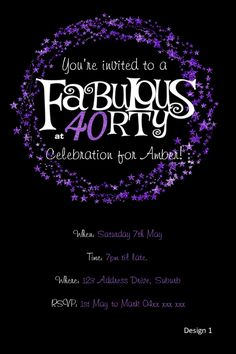 Pink & Black Forty and Fabulous 40th Birthday Invitations [DI-445 ...