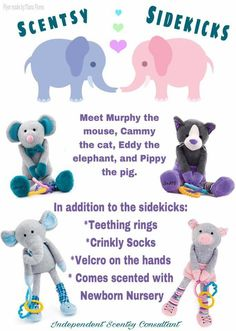I love the Scentsy Sidekicks!!!!  They are soft, stuffed animals with crinkly legs, teething rings, and socks that move up and down! Their hands even attach to car seats, strollers, etc. They come prescented with the  Newborn Nursery scent (fresh baby powder scent). www.pamelawitt.scentsy.us