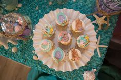 Stunning cupcakes at a mermaid birthday party! See more party ideas at CatchMyParty.com!