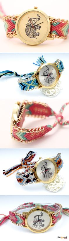 US$4.29 + Free shipping. Best choice for women. SHOP NOW! Women Girls Knitted Rope Elephant Bracelet Chain Wrist Watch.