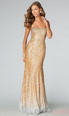 JVN by Jovani Floor Length Strapless Sweetheart Sequin Dress at PromGirl.com