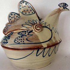 Ceramics by Angie Mitchell at Studiopottery.co.uk - 2011. Blue and Cream Hen