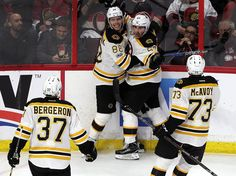 Ottawa, ONT - 4/12/2017 - (3rd period) Boston Bruins left wing Brad Marchand (63) and Boston Bruins left wing David Pastrnak (88) celebrate what turned out to be the game winning goal by Marchand late in the third period. The Boston Bruins visit the Ottawa Senators in Game One of the first round of the Stanley Cup Playoffs at the Canadian Tire Centre in Ottawa, ONT. - (Barry Chin/Globe Staff), Section: Sports, Reporter: Fluto Shinzawa, Topic: 13Senators-Bruins, LOID: 8.3.2196744423.