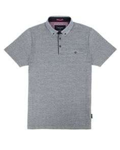 Printed collar polo - Navy | Tops & T-shirts | Ted Baker ROW