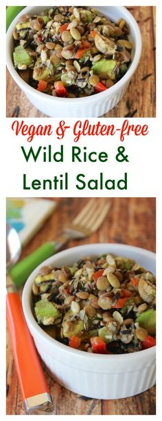 Vegan & Gluten-free Wild Rice & Lentil Salad that is also oil-free. The flavor comes from freshly squeezed lemon juice, with satisfying healthy fats from sunflower seeds and avocado.