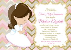 First Communion Invitation, Girl, Pink, Gold, Any Hair Color - Printable or Printed Create Invitations, Pink Invitations, Digital Invitations, Printable Invitations, Flower Invitation, Invitation Ideas, First Communion Invitations, Text On Photo, First Holy Communion