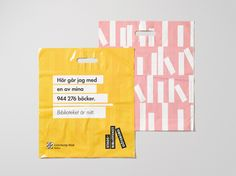 Plastic bag with graphic pattern for Gothenburg City Library