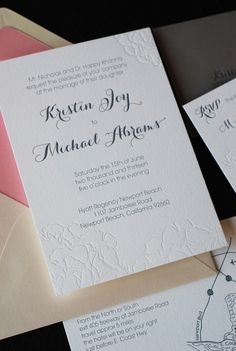 peony blind embossed wedding invite with script font