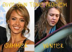 Olive skin tone problems. Summer Vs. Winter
