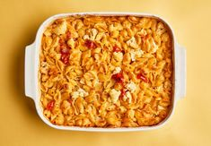 Three gooey cheeses distract tiny humans from the presence of a vegetable in this baked pasta.