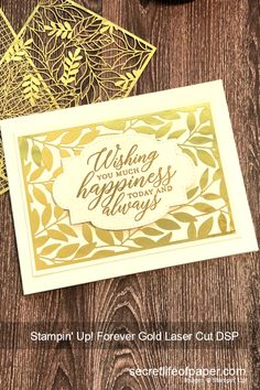 Elegant gold wedding card created with Stampin' Up! Forever Gold Laser Cut Specialty Paper and So Sentimental Bundle. Laser Cut Card, Laser Cut Paper, Wedding Anniversary Cards, Wedding Cards, Gold Leaf, Gold Foil, Leaf Cards, Specialty Paper, Secret Life