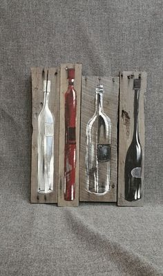 Wine Bottle Painting Pallet wall art decor by TheWhiteBirchStudio