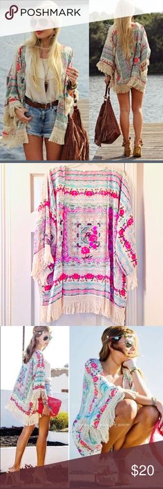 Flowy, Fringed, Floral & Fabulous Kimono NWOT.  Flowy and lightweight delicate chiffon kimono.   Tag says XL (fits L - XL). Other