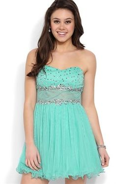 Deb Prom #Strapless Short Prom Dress with Stone #Illusion Waist and #Mesh Skirt #seafoam $86.90