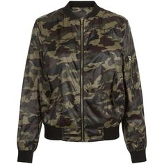 New Look Cameo Rose Dark Green Camo Print Bomber Jacket ($16) ❤ liked on Polyvore featuring outerwear, jackets, green pattern, green flight jacket, patterned bomber jacket, camo jacket, flight jackets and camouflage jacket