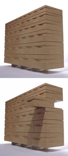 Stacked Plywood Vero Dresser - A concealed aluminum frame causes drawers to appear as if they are floating.