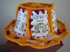 LOL remember these beer can hats?  My mom crocheted a whole bunch way back when.  We thought we were cool wearing them.