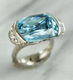 Aquamarine & Diamond Ring Set in Platinum   Michael Endlich Aquamarines, Diamond Ring Settings, Rings For Men, Wedding Rings, Engagement Rings, Jewelry, Enagement Rings, Men Rings, Jewlery
