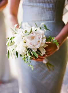 PEONIES and olive leaves Pamela Robin Garden Inspired Wedding from Mandy Busby via Snippet Ink Floral Design Sybil Sylvestor of Wildflower Designs Floral Creations. Small Wedding Bouquets, Small Bouquet, Bridal Flowers, Floral Wedding, Olive Wedding, Prom Flowers, Peony Bridesmaid Bouquet, Peonies Bouquet, Bride Bouquets