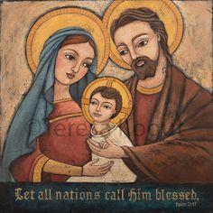 Holy Family 12x12 print on wood by Teresa Kogut. via Etsy.