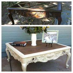 """French provincial Coffee table painted refinished white and sealed/ glazed with provincial stain. Replaced missing glass with 1/4"""" plywood and stained. Dawn Stockbridge"""