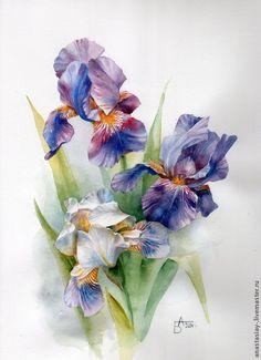 Картины цветов ручной работы. Ярмарка Мастеров - ручная работа Букет ирисов. Handmade.