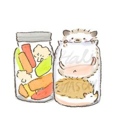 All I need right now is a jar of vegetables and a jar of hedgehogs <3 <3 <3
