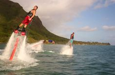 flyboarding - a water-propelled jetpack strapped to your feet! Kinda cool!