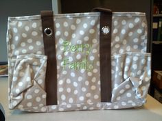 "Organizing Utility Tote in Lotsa Dots ""Berry Family"" in Lime Green as a baby shower gift! She's adding baby things inside and giving it just like this! A whole new diaper bag and you don't even have to bother with gift wrap!"