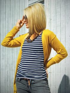 Mustard cardi, blue striped top, jeans, wood bead necklace
