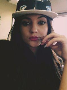 Kylie Jenner Instagram Selfie Wearing Green Cap
