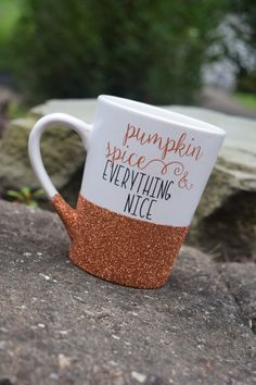 Pumpkin Spice Pumpkin Spice Coffee Mug Glitter by APolkaDotShop